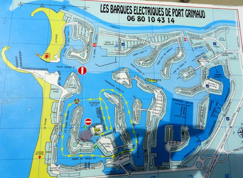 barques electriques visite. Parcours port griamud cité Lacustre
